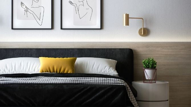 bedroom decor, bed, paintings