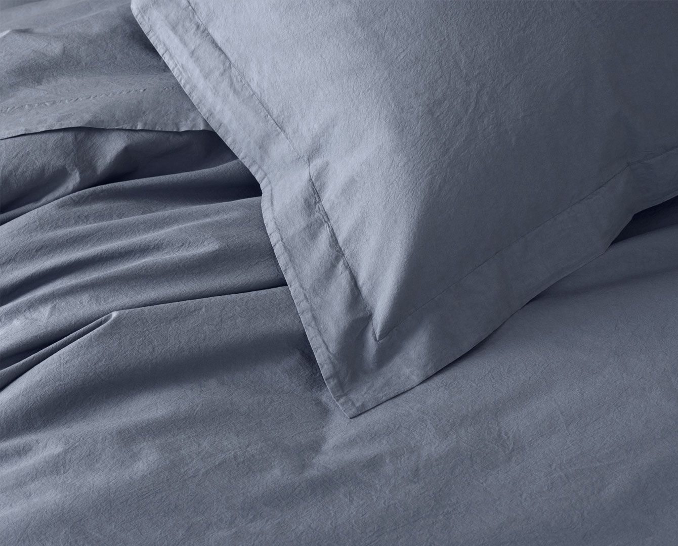 200TC Stonewashed Percale Bedding Set - Stone Blue