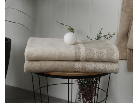 Cotton-Linen Floral Bath Towel